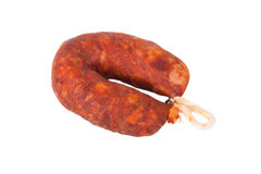 Smoked sausage isolated on white background Royalty Free Stock Photography