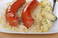 Smoked Sausage Meal Stock Photo