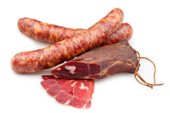 Smoked sausage and meat Royalty Free Stock Images