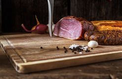 Smoked sausage and meat Royalty Free Stock Photo