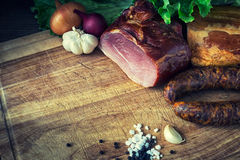 smoked sausage and meat Royalty Free Stock Photos