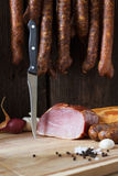 smoked sausage and meat Royalty Free Stock Photography