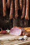 smoked sausage and meat Stock Image
