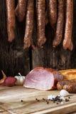 Smoked sausage and meat Stock Image