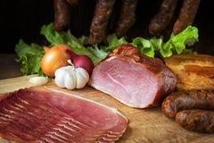 smoked sausage and meat Stock Photos