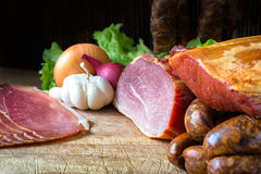 smoked sausage and meat Royalty Free Stock Image