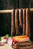 Smoked sausage and meat. Collage of different kinds of meat, smoked sausage and meat Royalty Free Stock Images