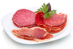 Smoked sausage and meat products Royalty Free Stock Photos