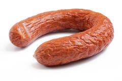 Smoked sausage over white royalty free stock photos