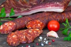 Smoked sausage and pancetta Stock Image