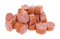 Smoked sausage pieces Royalty Free Stock Image