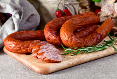 Smoked sausage Stock Photography