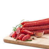 Smoked sausage. With rosemary, peppercorns and garlic Royalty Free Stock Photos