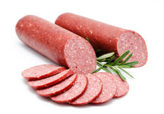 Smoked sausage salami isolated Royalty Free Stock Photo