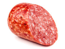 Smoked sausage salami isolated on white background cutout Royalty Free Stock Photography