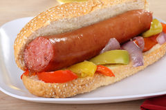 Smoked Sausage on a Sesameseed Bun Stock Photography