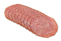 Smoked sausage slice Stock Images