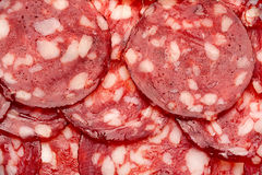 Smoked sausage slice Royalty Free Stock Images