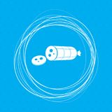 Smoked sausage sliced Icon on a blue background with abstract circles around and place for your text. Illustration Stock Images