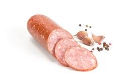 Smoked sausage with sliced pieces Stock Photo