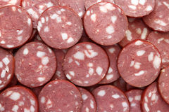 Smoked sausage slices. Close-up Stock Image