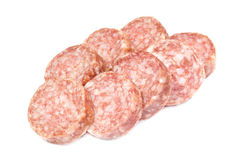 Smoked sausage slices Stock Images