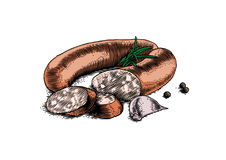 Smoked sausage with spice. Smoked sausage with garlic, rosemary and black pepper Stock Photos