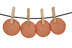 Smoked sausage on a string Stock Photos