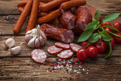 Smoked sausage and vegetables Royalty Free Stock Photo