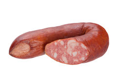 Smoked sausage on white. Smoked sausage with isolated on white background Royalty Free Stock Photos