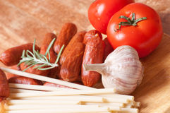 Smoked sausages Stock Photography