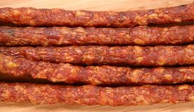 Smoked sausages in close up Stock Photography