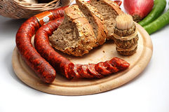 Smoked sausages composition Stock Image