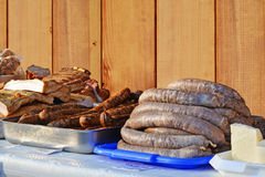 Smoked sausages meat, bacon, hog's pudding, smoked lard and cheese Stock Photography