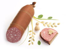Smoked sausages and sandwich Stock Image