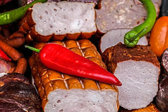 Smoked sausages specialties with red and green pepper 3 Royalty Free Stock Photo