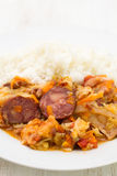 Smoked sausages with vegetables and rice Royalty Free Stock Image
