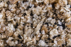 Smoked sea salt flakes, on a wooden spoon and scattered. Macro. Stock Photos