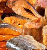 Smoked sliced salt fish. Smoked sliced salt different fish Stock Photos