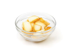 Smoked sliced squid in a glass cup Stock Photo