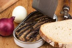 Smoked sprat - appetizing snack Stock Photography