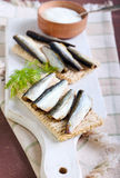 Smoked sprat Stock Photography
