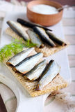 Smoked sprat Stock Photo
