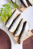 Smoked sprat Stock Photos