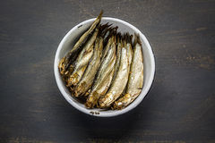 Smoked sprats. In a bowl Stock Images
