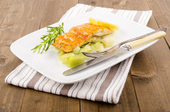 Smoked and steamed haddock fillet with celery Royalty Free Stock Images