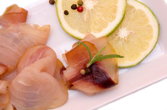 Smoked swordfish on the tray from above and very close Stock Image
