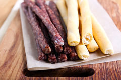 Smoked thin sausages Royalty Free Stock Photography
