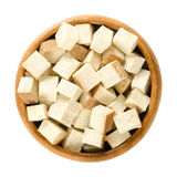 Smoked tofu cubes in wooden bowl Royalty Free Stock Image