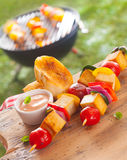 Smoked Tofu kebabs served with baguette and sauce Royalty Free Stock Images